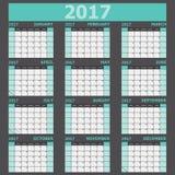 Calendar 2017 week starts on Sunday green tone Stock Image