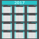 Calendar 2017 week starts on Sunday light green tone Royalty Free Stock Photos