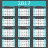 Calendar 2017 week starts on Sunday light green tone. Stock vector Royalty Free Stock Photos