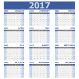 2017 calendar week starts on Sunday 12 months set Stock Image