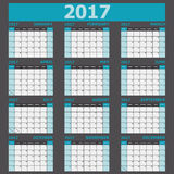 Calendar 2017 week starts on Sunday 12 months set Royalty Free Stock Photography