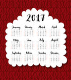 2017 calendar. Week starts Sunday. One sheet with handwritten months. Vector template on hand drawn red knitted. Background Royalty Free Stock Photos