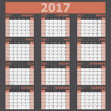 Calendar 2017 week starts on Sunday orange tone. Stock vector royalty free illustration