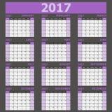 Calendar 2017 week starts on Sunday purple tone Royalty Free Stock Photography