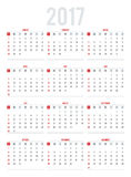 Calendar for 2017. Week Starts Sunday. Set of 12 Months. Simple Stock Image