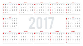 Calendar for 2017. Week Starts Sunday. Set of 12 Months. Simple. Vector Template Royalty Free Stock Images
