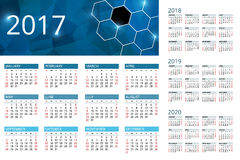 Calendar for 2017, 2018, 2019, 2020. Week Starts Sunday. Simple Vector  design. Calendar Week Starts Sunday. Simple Vector  design Stock Images