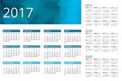 Calendar for 2017, 2018, 2019, 2020. Week Starts Sunday. Simple Vector  design. Calendar Week Starts Sunday. Simple Vector  design Stock Image