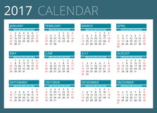 Calendar for 2017. Week Starts Sunday. Simple Vector design. Royalty Free Stock Photography