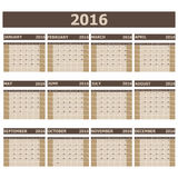 2016 Calendar week starts from Sunday. Stock vector vector illustration