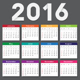 Calendar 2016. Week starts from Sunday Stock Photo