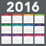 Calendar 2016. Week starts from Sunday. Vector eps10 Stock Photo