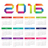 Calendar 2016. Week starts from Sunday Stock Photos