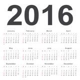 Calendar 2016. Week starts from Sunday Stock Images