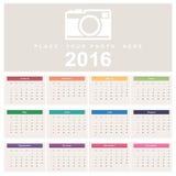 Calendar 2016. Week starts from Sunday Stock Photography