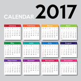 Calendar 2017. Week starts from Sunday Royalty Free Stock Photos