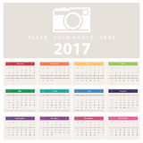 Calendar 2017. Week starts from Sunday Stock Photos