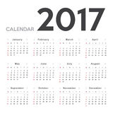 Calendar 2017. Week starts from Sunday Royalty Free Stock Photo
