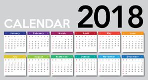 Calendar 2018. Week starts from Sunday Stock Photo