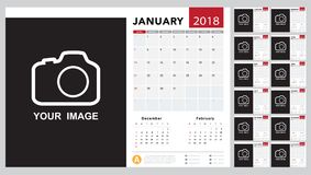 Calendar 2018 template design. Week starts from Sunday Stock Image