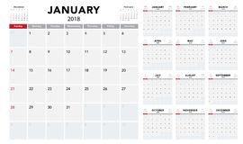 Calendar 2018 template design. Week starts from Sunday Royalty Free Stock Images