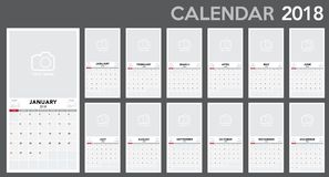 Calendar 2018 template design. Week starts from Sunday Royalty Free Stock Photography