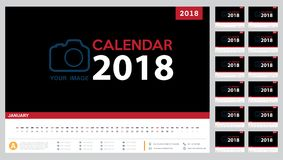 Calendar 2018 template design. Week starts from Sunday Royalty Free Stock Image