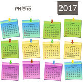 Calendar 2017. Week starts from Sunday. Vector flat design template Stock Photos