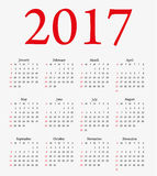Calendar 2017. Week starts from Sunday. Stock Photos