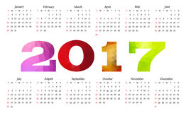 Calendar 2017. Week starts from Sunday. Royalty Free Stock Images