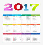 Calendar 2017. Week starts from Sunday. Vector flat design template stock illustration