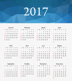 Calendar 2017. Week starts from Sunday. Stock Photography