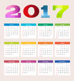 Calendar 2017. Week starts from Sunday. Royalty Free Stock Image