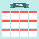 Calendar 2016. Week starts from Sunday. Vector flat design template, ready to print stock illustration