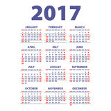 Calendar 2017. Week starts from Sunday. Vector flat design template, ready to print. Art Royalty Free Illustration
