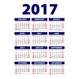 Calendar 2017. Week starts from Sunday. Vector flat design template, ready to print. Art Vector Illustration