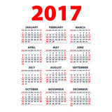 Calendar 2017. Week starts from Sunday. Vector flat design template, ready to print. Art Stock Photos