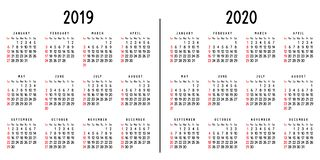 Calendar 2019 and 2020 stock illustration