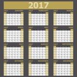 Calendar 2017 week starts on Sunday yellow tone Stock Photography