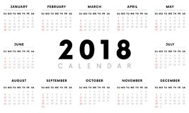 Calendar 2018. Weeks start with Sunday. Vector illustration. Calendar 2018. Weeks start with Sunday Royalty Free Stock Photography
