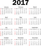 Calendar 2017. Weeks starts from Sunday Stock Images