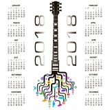 2018 Calendar with a whimsical guitar Stock Image