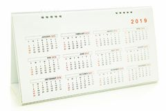 Calendar of 2019. On white background stock images