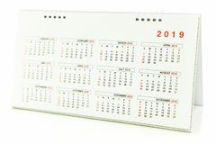Calendar of 2019. On white background stock photography