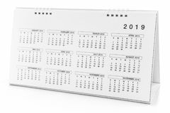 Calendar of 2019. On white background stock image