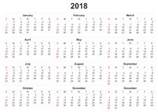 2018 calendar with white background. 2018 a calendar with white background Royalty Free Illustration