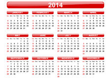 2014 calendar. On white background stock illustration