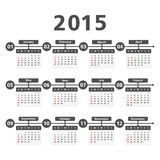 2015 Calendar. On white background Stock Illustration