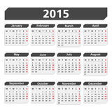 2015 Calendar. On white background Royalty Free Stock Photo