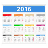 2016 Calendar. On white background Stock Photos